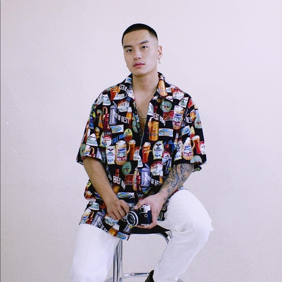 Beer All-Over-Print Button-Up Tee